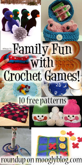 Banish boredom with 10 free crochet game patterns! Fun for the whole family! {mooglyblog.com} #crochet
