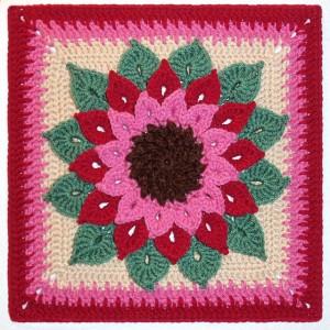 The Crocodile Flower Afghan Square - free crochet stitch crochet pattern