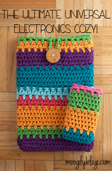 The Ultimate Universal Electronics Cozy - a step by step photo tutorial to cover any tablet or phone! Even a laptop! Free pattern and tutorial at mooglyblog.com #crochet