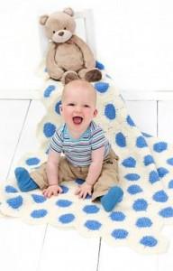 Polka Dot Baby Blanket #crochet