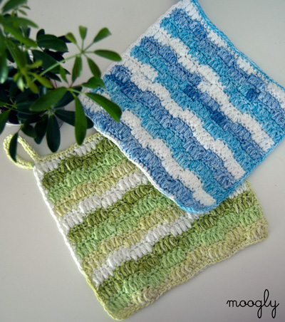 Ripple Puff Cleaning Cloth - free crochet pattern on Moogly!