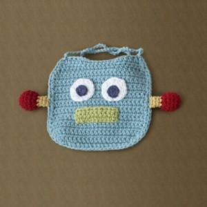 Robot Bib - free #crochet baby bib pattern