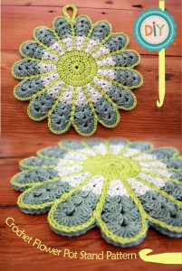 Crochet Flower Pot Stand - free pattern! on unpinning pintersest