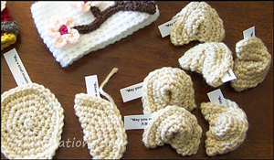 Fortune Cookies! - less than 10 yards of yarn to crochet!