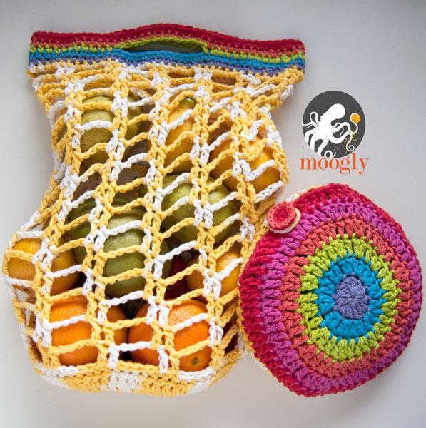 Free Crochet Pattern Rainbow Pocket Market Bag