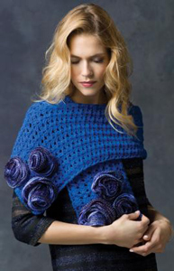 Rose Parade Wrap - ruffle yarns can make more than the twirly scarves! Free pattern!