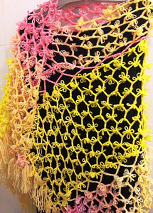 "Shawl ""Morning Sun"" - free pattern featuring Broomstick Lace Crochet!"