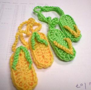 Slippah Luggage Tags - flip flips free crochet patterns