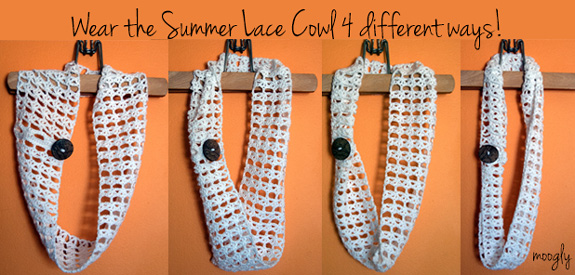Summer Lace Cowl - use the attached button to style this crochet cowl 4 different ways! Free pattern!