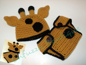 Giraffe Hat and Diaper Cover - Baby Crochet Photo Props