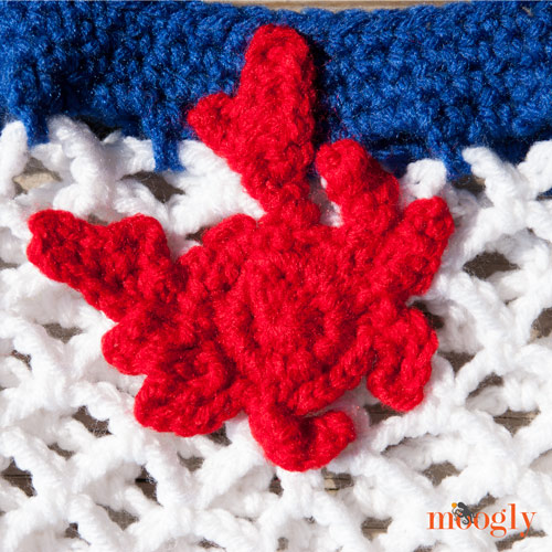 Crochet Crab Applique - free pattern from My Merry Messy Life
