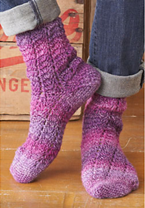 Twisting Lace - Free crochet sock pattern