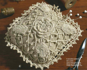 Irish Crochet Pincushion  - makes a beautiful ring pillow for a wedding!