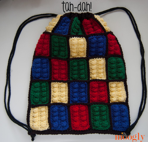 ... top closes, and the Lego Inspired Crochet Backpack is ready to wear