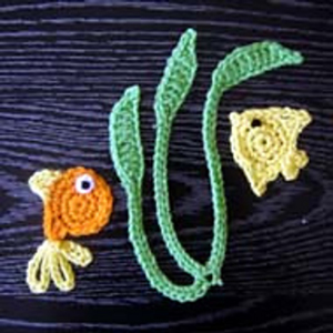 Goldfish, Angelfish and Seaweed - free crochet applique patterns