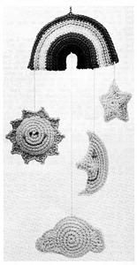 Rainbow Mobile - free vintage crochet mobile pattern