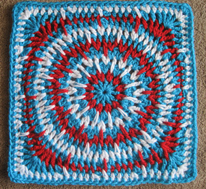 Spiky Circle Afghan Square - free 4th of July crochet patterns