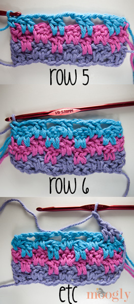Leaping Stripes and Blocks Blanket - free crochet pattern on Moogly!
