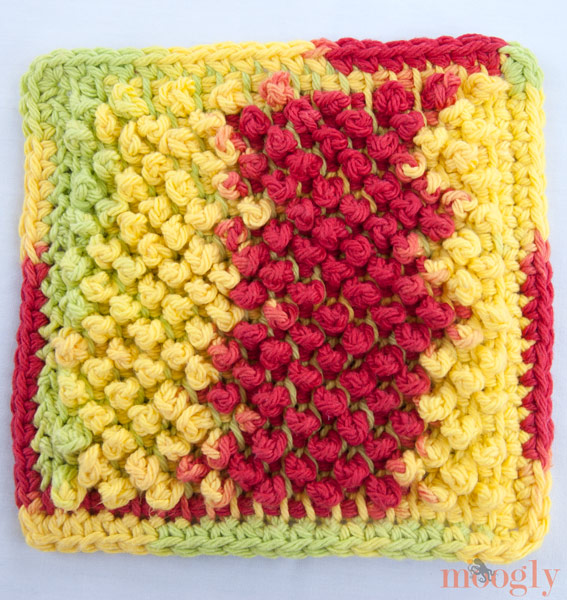 Free Pattern Tunisian Pebbles Dishcloth Moogly