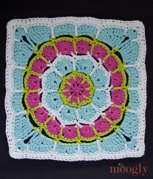 "Magic Spike Mandala Square - 12"" afghan block, free crochet pattern!"
