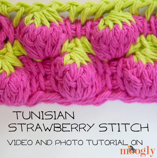 Tunisian Strawberry Stitch: Video and Photo Tutorial on moogly