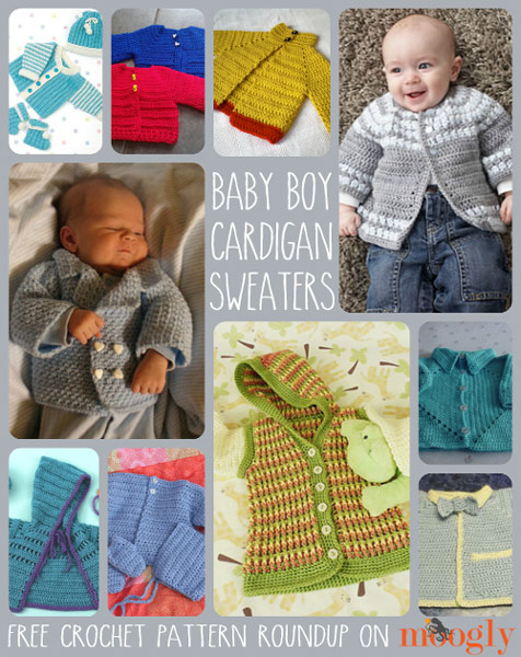 Free Crochet Cardigan Sweater Patterns for Baby Boys! :: moogly