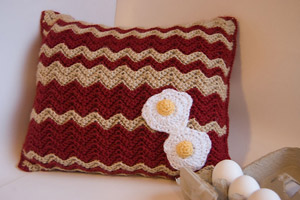 Bacon and Eggs Crochet Pillow Pattern