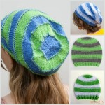 Knit Stripey Slouchy Beanies for the Whole Family! Free pattern with 4 sizes on Moogly!