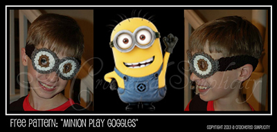 Minion Play Goggles by Jennifer Pionk - free Minons crochet patterns roundup on Moogly!
