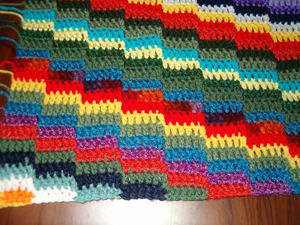 Scrappy Stripes Afghan - free stash buster afghan crochet patterns