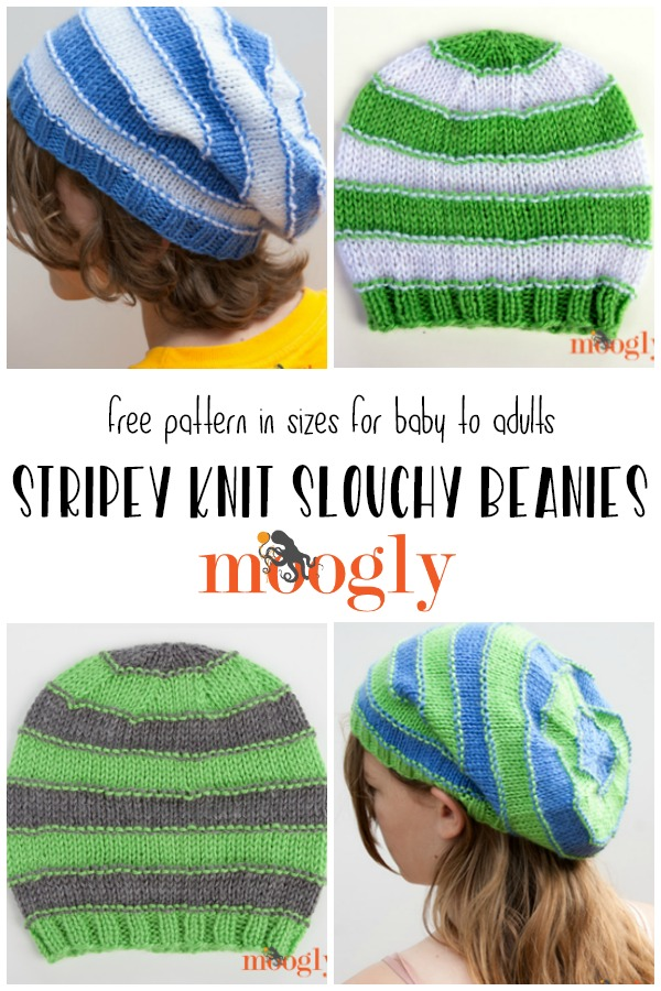 Stripes Knit Slouchy Beanies - free on Mooglyblog.com!
