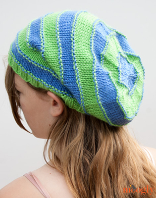 Stripey Knit Slouchy Beanies - Free pattern with 4 sizes on Moogly!