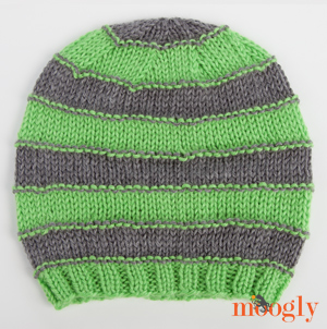 Free Knitting Pattern For Baby Slouch Hat : Free Pattern: Stripey Knit Slouchy Beanies - moogly