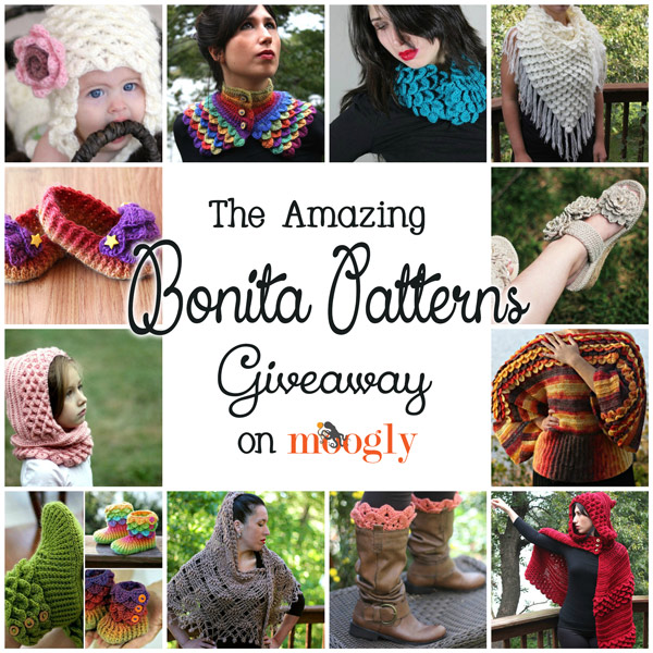 Bonita Patterns Giveaway on Moogly! 3 winners get 10 patterns each! Ends 9/24/2013 at 12am!