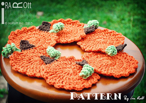 Crochet Pumpkin Pattern: Coasters