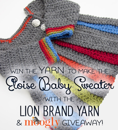 Enter to win the yarn to make this super cute baby sweater! Giveaway ends 9/13/13 at 12am Pacific! #LionBrandYarnGiveaway