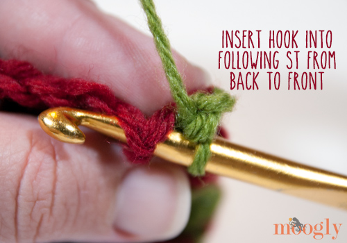 How to work post stitches into a row of single crochet stitches! This technique can do all kinds of things for your projects. Video and photo tutorial on Moogly!