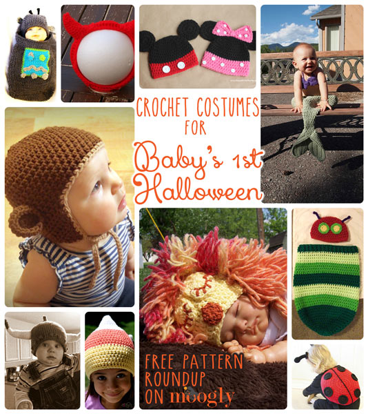 Crochet for Baby's 1st Halloween! Get links to these 10 free #crochet #Halloween costumes for babies on Moogly!