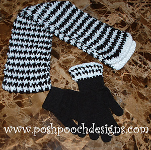 Hounds Tooth Scarf and Glove Toppers :: Free Houndstooth Crochet Patterns!