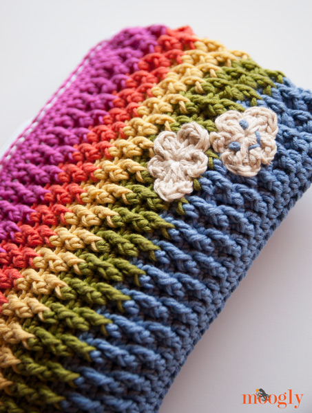 ... Crochet some sunshine! The Rainbow Happy Fun Pouch will come to your