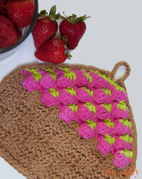 Free Pattern: Strawberry Basket Tunisian Dishcloth - moogly