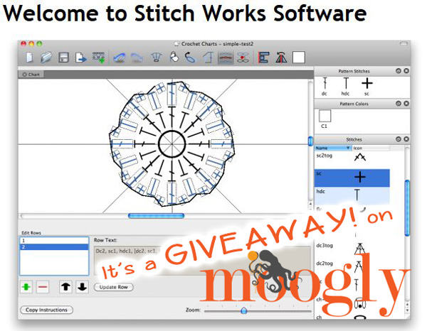 Awesome! Win your own full copy of Stitch Works Software on Moogly! Giveaway ends 10/15/2013 at 12am Eastern