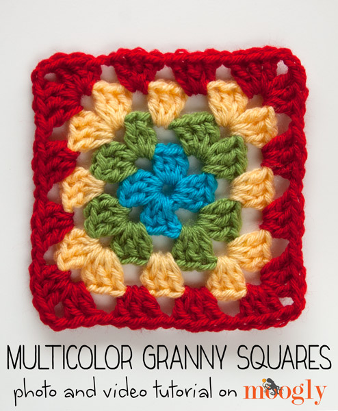 How to Crochet Multicolor Granny Squares that look perfect every time! Video and photo #crochet tutorial on Moogly