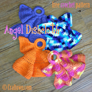 Angel Dishcloth :: Free #Crochet Angel Patterns