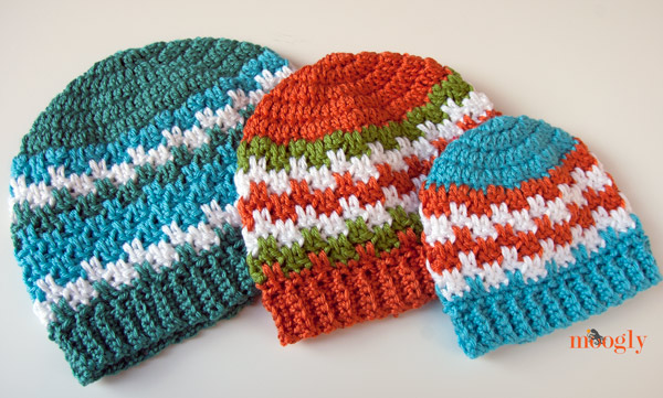 Free Crochet Pattern Leaping Stripes And Blocks Beanies On Moogly
