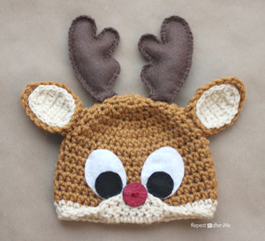 Rudolph the Riendeer Hat :: Free Holiday #Crochet Patterns for Babies!