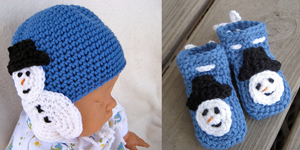 Snowman Hat and Booties Set :: Free Holiday #Crochet Patterns for Babies!