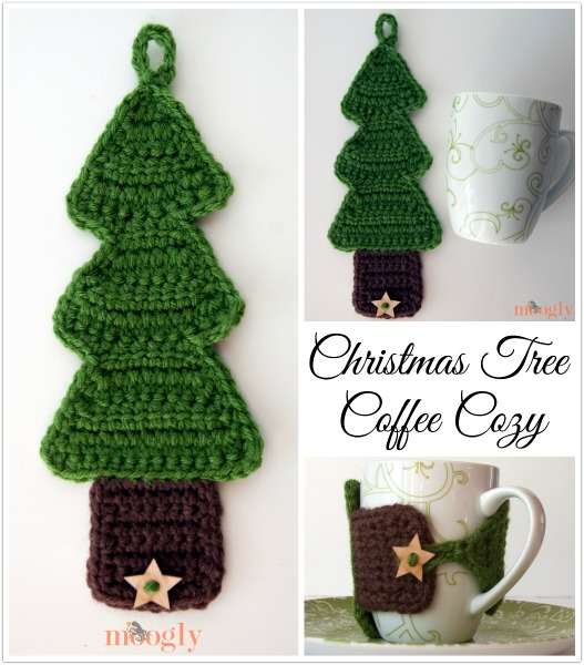 #Crochet Christmas Tree Coffee Cozy - free pattern!