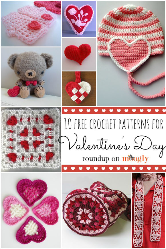 Crochet some love for Valentine's Day! Get 10 free #crochet patterns for your Valentine at Moogly!