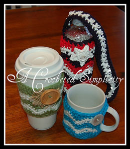 """Chasing Chevrons"" Cozy Set: Free #crochet mug cozies in a variety of styles in a roundup on Moogly!"